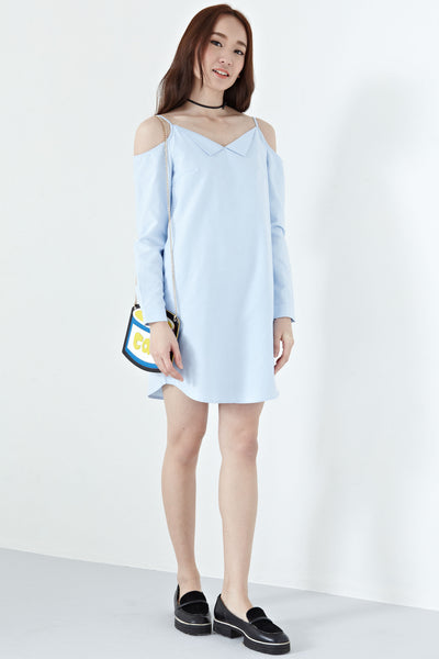 Joan Cold Shoulder Shirt Dress in Light Blue - Dresses - Twenty3