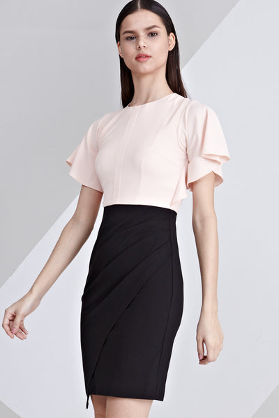 Delia Colour Block Sheath Dress in Peach and Black