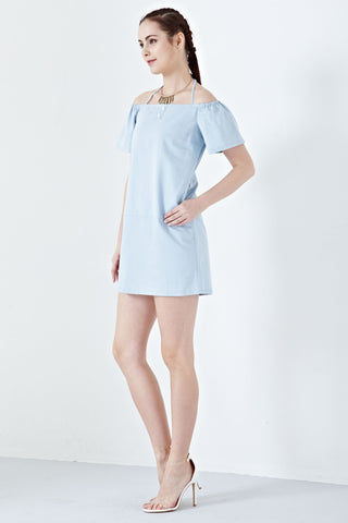 Twenty3 - Siora Halter Neck Off Shoulder Shift Dress in Denim -  - Dresses - 1