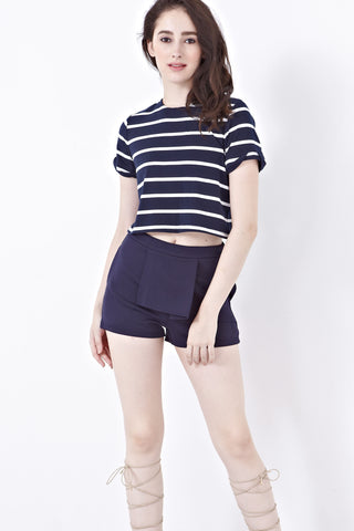 Melissa Shorts with Folded Drape in Navy Blue - Bottoms - Twenty3
