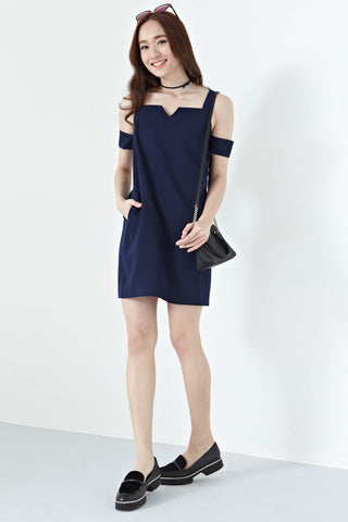 Brandia Cold Shoulder Shift Dress in Navy Blue