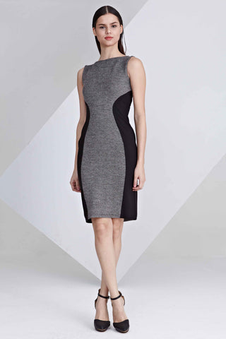 Ames Contrast Panel Bodycon Dress in Grey and Black
