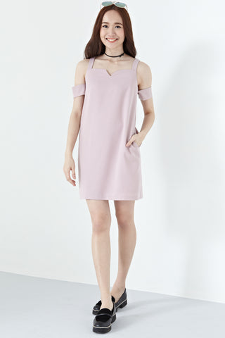Brandia Cold Shoulder Shift Dress in Mauve