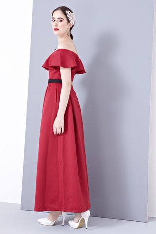 Twenty3 - Lena Off-Shoulder Bridal Gown in Burgundy -  - Maxi Dress - 1