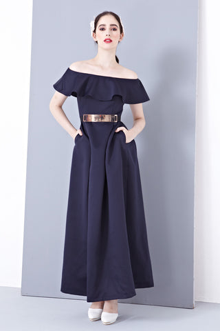 Twenty3 - Lena Off-Shoulder Bridal Gown in Navy Blue -  - Maxi Dress - 1