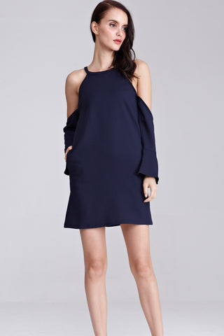 Alyssia Cold Shoulder Shift Dress in Navy Blue