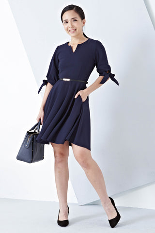 Twenty3 - Grecia Ribbon Balloon Sleeve Dress in Navy Blue -  - Dresses - 1