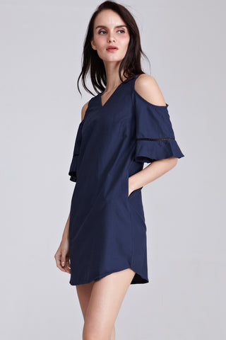 Dorothea Cold Shoulder Shift Dress in Navy Blue