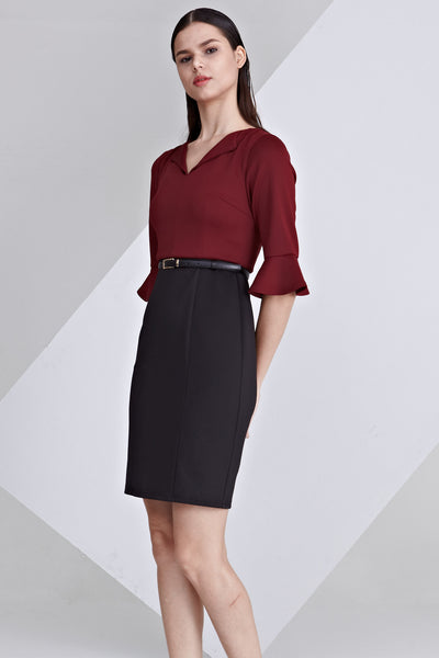Padma Flute Sleeves Bodycon Dress in Burgundy and Black