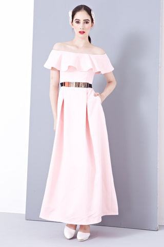 Twenty3 - Lena Off-Shoulder Bridal Gown in Pink -  - Maxi Dress - 1