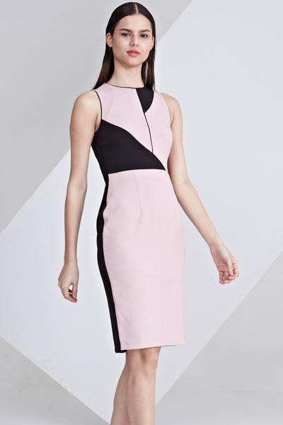 Darlyne Contrast Panel Sheath Dress in Dusty Pink and Black