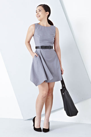 Twenty3 - Dionne Asymmetrical Hemline Skater Dress in Grey -  - Dresses - 1