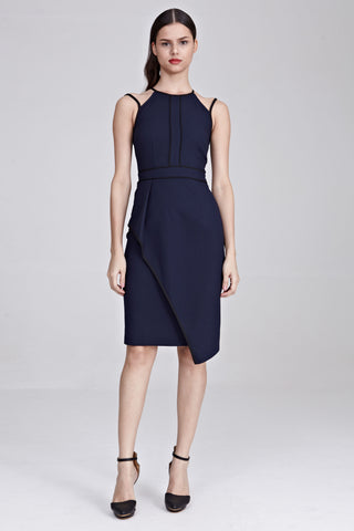 Laverne Contrast Piping Sheath Dress in Navy Blue