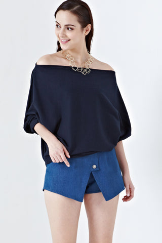 Twenty3 - Delilah Oversized Wide Neck Top in Navy Blue -  - Tops - 1