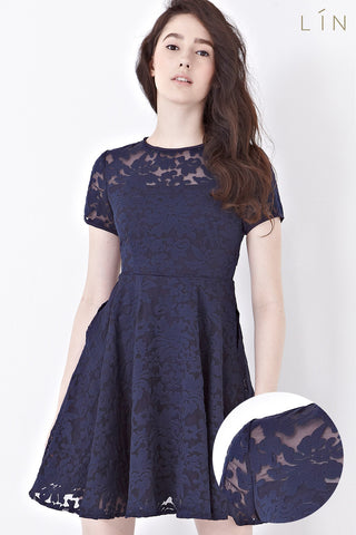 Twenty3 - Jenette Skater Dress in Navy Blue -  - Dresses - 1