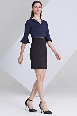 Padma Flute Sleeves Bodycon Dress in Navy Blue and Black