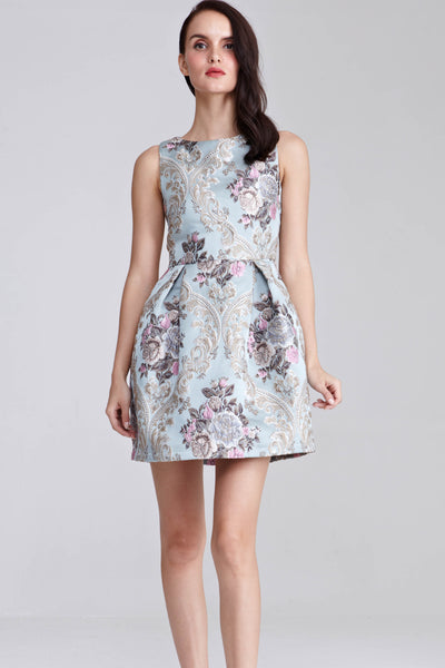 Quincy Floral Jacquard Skater Dress in Light Blue