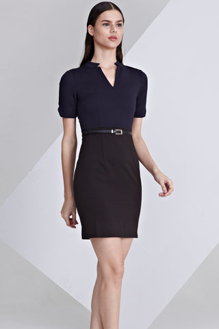 Pansy Colour Block Sheath Dress in Navy Blue and Black