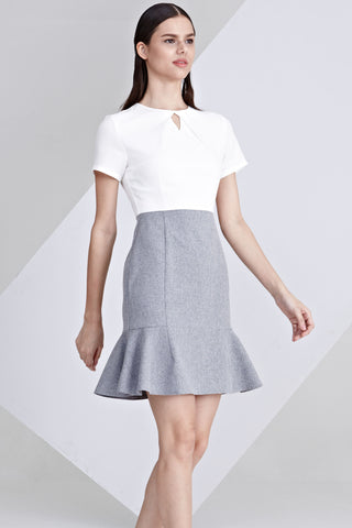 Alvena Colour Block Sheath Dress with Peplum in White and Grey