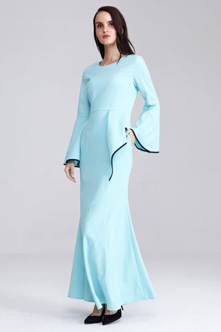 Adoria Contrast Piping Detail Dress in Tiffany Blue
