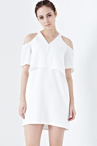 Twenty3 - Dulce Cold-Shoulder Sleeves Shift Dress in White -  - Dresses - 1