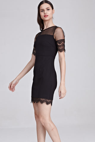 Bridget Lace Detail Bodycon Dress in Black