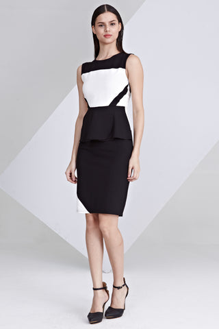 Alexis Colour Block Sheath Dress in White and Black