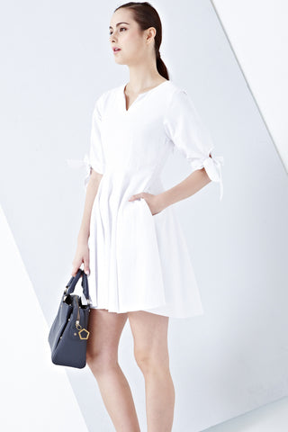 Twenty3 - Grecia Ribbon Balloon Sleeve Dress in White -  - Dresses - 1