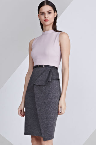 Vanoza Colour Block Sheath Dress in Dusty Lilac and Grey
