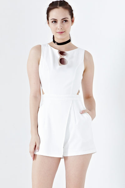 Twenty3 - Leana Side Cutout Playsuit in White -  - Romper - 1