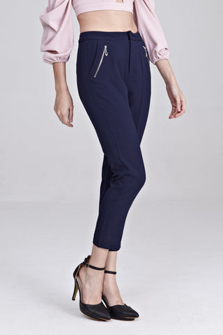 Priya Zipper Detail Tapered Long Pants in Navy Blue