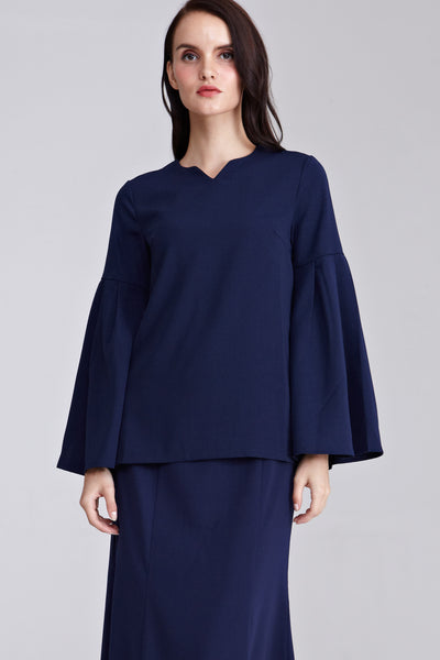 Atila Flare Sleeves Top in Navy Blue