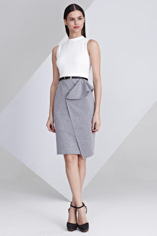 Vanoza Colour Block Sheath Dress in White and Grey