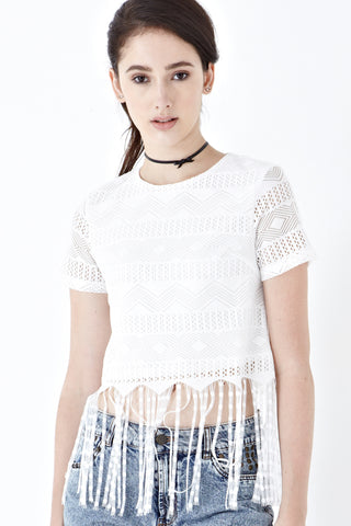 Veron Crop Top with Fringe in White - Top - Twenty3