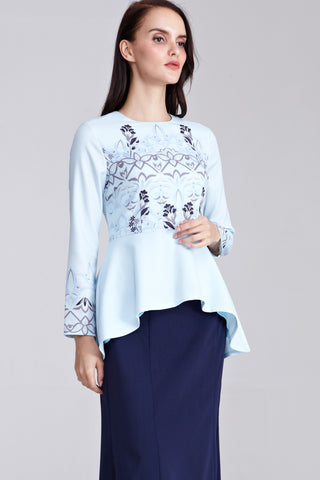 Hana Peplum Top with Placement Floral Print in Pastel Blue
