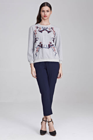 Sendayan Long Sleeve Jumper with Floral Embroidery in Grey
