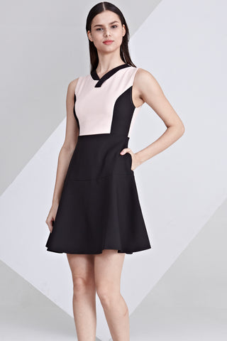 Eyana Colour Block Skater Dress in Pink and Black