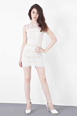 Rayla Lace Overlay Bodycon Dress in White - Dresses - Twenty3