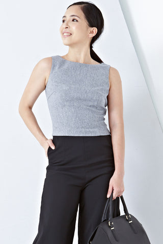 Twenty3 - Abra Boat Neck Fitted Top in Grey -  - Tops - 1