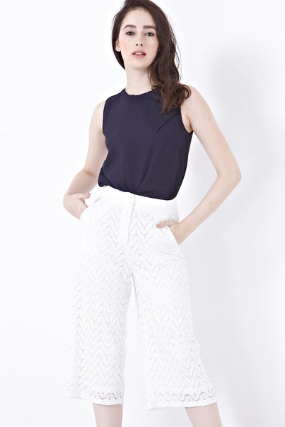 Xandria Lace Overlay Culottes in White - Bottoms - Twenty3