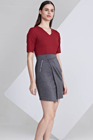Embry Colour Block Sheath Dress in Burgundy and Dark Grey