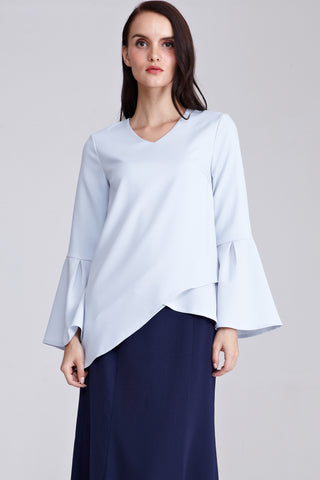 Hilaya Asymmetrical Hemline Top in Powder Blue