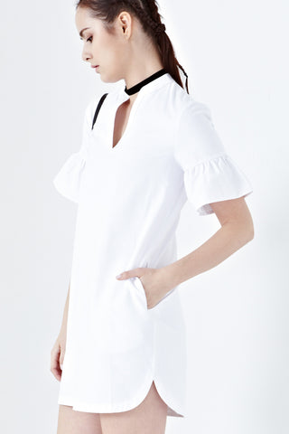 Bea Flute Sleeves Shift Dress in White - Dresses - Twenty3