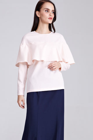 Nisha Ruffle Top in Pastel Peach - Tops - Twenty3