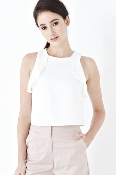 Karlie Sleeveless Frill Top in White - Top - Twenty3