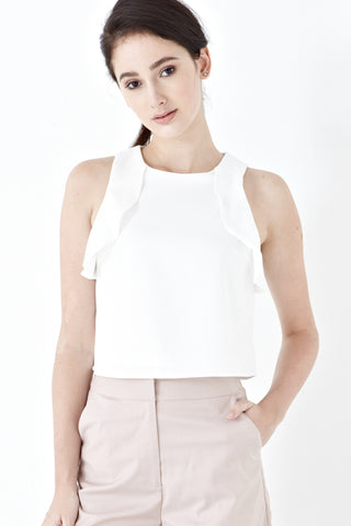 Twenty3 - Karlie Sleeveless Frill Top in White -  - Top - 1
