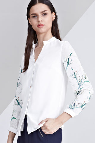 Aletta Long Sleeve Top with Placement Floral Print