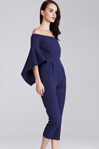 Xoniya Off Shoulder Jumpsuit in Navy Blue