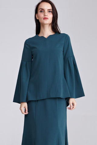 Atila Flare Sleeves Top in Dark Green