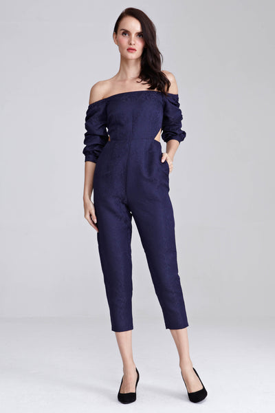 Elora Puff Sleeves Jumpsuit in Navy Blue